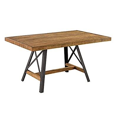 "Joey 60"" Dining Table in Gingersnap with Rustic Plank Top And Metal Base, by Artum Hill - The Joey dining table brings a rustic, industrial touch to your home with distressed wood surfaces and metal accents Dimensions: 60"" Length, 36"" Width, and 30"" Height Makes everyday life a little bit easier with features like durable finish and floor protectors - kitchen-dining-room-furniture, kitchen-dining-room, kitchen-dining-room-tables - 41kIYzahh3L. SS400  -"