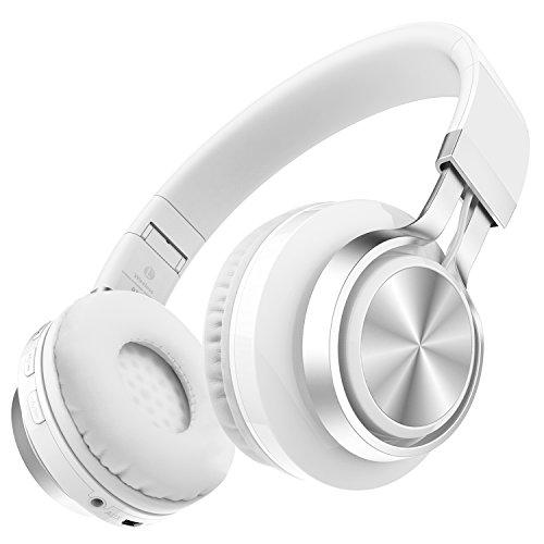 Darkiron Bluetooth Kopfhörer: mit eingebautem Mirrofon, TF Karte, FM Radio und Audio-Kabel, kompatibel mit meisten Bluetooth-Geräten, Handys, Laptop, TV usw (Weiß)
