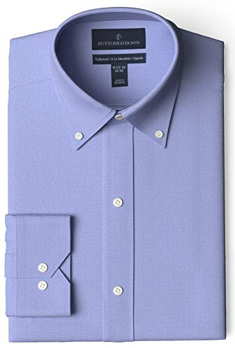 "Amazon Brand - Buttoned Down Men's Tailored-Fit Button Collar Pinpoint Non-Iron Dress Shirt, Blue, 15.5"" Neck 33"" Sleeve"