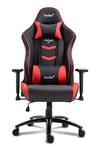 boulies Ninja Gaming Chair Adjustable Office Chair Multi-Function Racing Chair High Back Computer Desk Chair - Black & Red boulies