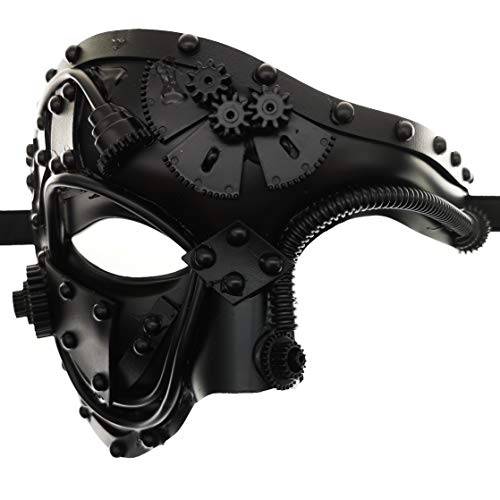 CCUFO Steam Punk Phantom of The Opera Vintage Masquerade Venetian Luxury Men Face Mask | Party, Fancy Ball, Prom, Mardi Gras, Wedding, Wall Decoration (Black)  -