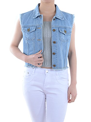 Anna-Kaci Womens Juniors Distressed Denim Button Up Crop Cotton Blue Jean Vest, Blue, Small