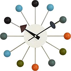 Tiandihe Wood Ball Wall Clock Silent Battery Operated Non Ticking 13 inches Pop Color Quartz Clocks Decorative Living Room