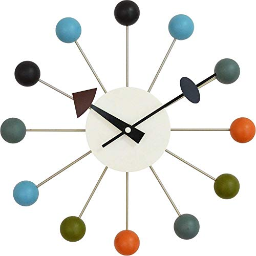 Tiandihe Wood Ball Wall Clock Silent Battery Operated Non Ticking 13 inches Pop Color Quartz Clock Decorative Living Room
