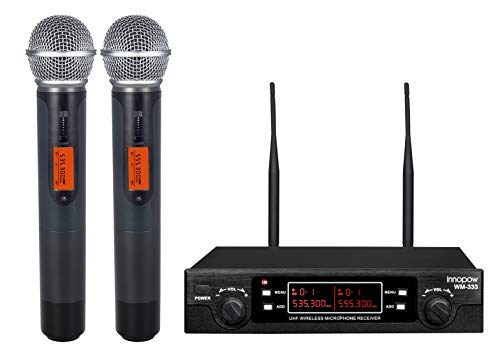 innopow 80-Channel Dual UHF Wireless Microphone System,Metal Cordless Mic Set, Long Distance 200-240Ft,16 Hours Continuous Use for Family Party,Church, Karaoke Night -