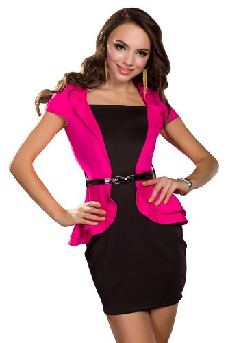 Amour Women's Vintage V-Neck Peplum Dress