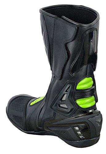 Botas alta de protección Nextek, resistentes, de auténtica piel, blindadas, para motocicleta, con suela de goma antideslizante: Amazon.es: Coche y moto