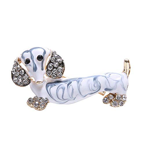 (8DDB Dog Crystal Pins Banquet Gift Lovely Brooch Pins (Color - Gold) )