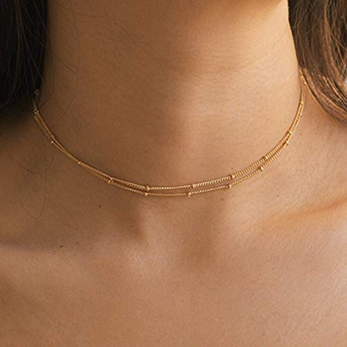 Mevecco Gold Layered Satellite Plain Chain Choker Necklace,Dainty Handmade Boho 14K Gold Plated Cute Tiny Beaded Link Chain Necklace 2 Layered Delicate Simple Minimalist Choker Necklace for Women