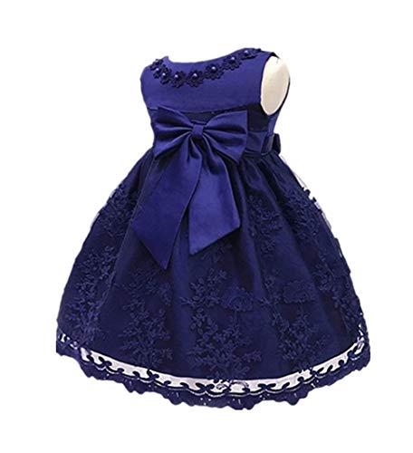 H.X Baby Girl's Newborn Bowknot Gauze Christening Baptism Dress Infant Flower Girls Wedding Dresses 8 Color (6M/6-9 Months, Dark Blue)