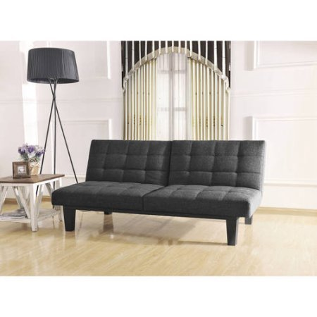 Tweed Memory BC-281 Foam Futon, Split Seat & Back, Wooden Frame, Gray Color
