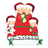 PERSONALIZED CHRISTMAS ORNAMENTS FAMILY KIT- PAJAMA FAMILY OF 4 KIT