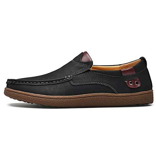 - Size 38-46 Comfortable Men Loafers Split Leather Casual Shoes Flats Moccasins,Black,6.5