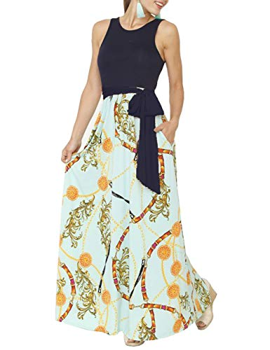 DUNEA Women's Maxi Dress Floral Printed Spring Sleeveless Casual Tunic Long Maxi Dress with Belt (XX-Large, SleevelessYellow) ()