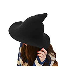MIOIM Women Girls Modern Witch Hat Halloween Witch Hat Wide-Brimmed Hat Cap