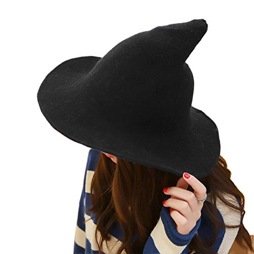 DELAISUS Witch Hat Sheep Wool Christmas Halloween Foldable Costume Ball Sun Cap for Winter Black