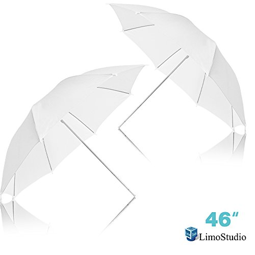 LimoStudio [2PCS] 46 Inch White Umbrella Reflector Lighting Kit, Translucent Soft Even Spread Light for Photo Studio, Photo Portrait Studio Day Light Umbrella Lighting Kit, AGG2278_V2 by LimoStudio