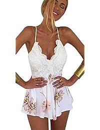 Leegor Women Lace Printing V-Neck Strap Sleeveless Jumpsuit