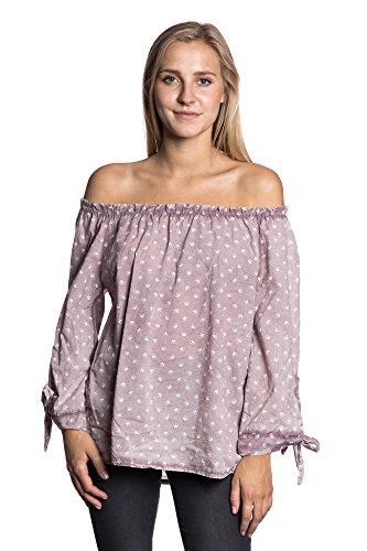 Abbino 80989 Blusa con Patrón de Corona y Nudo Frontal para Mujer - Hecho en ITALIA - Colores Variados - Entretiempo Transición Primavera Verano Otoño Mujeres Saldi Elegantes Encanto Rosa (Art. 1610-5)