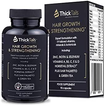 ThickTails Hair Growth Vitamins Supplement - Anti Hair Loss Regrowth Treatment for Women With Thinning Hair Due to Menopause And Stress. With Biotin Saw Palmetto Horsetail. DHT Blocker. 1 Month Supply