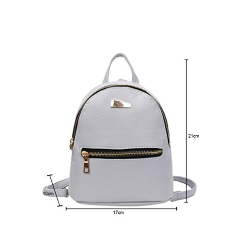 Rucksack Bag School College Pink Bags Backpack Travel Leather Women Pocciol Satchel Shoulder Gray qnS4qYp