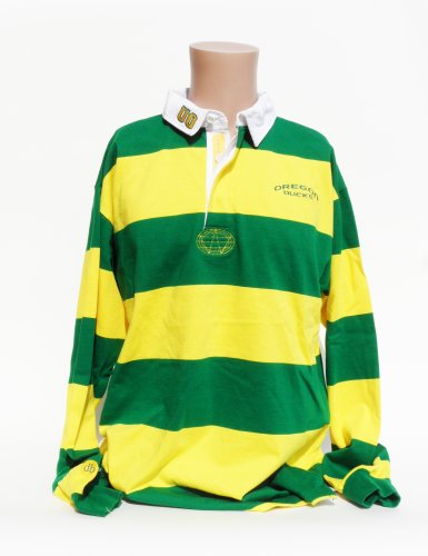 NCAA Oregon Ducks Men's Striped Rugby Shirt, Green/Yellow, X-Large (Polo Bold Stripe Jersey)