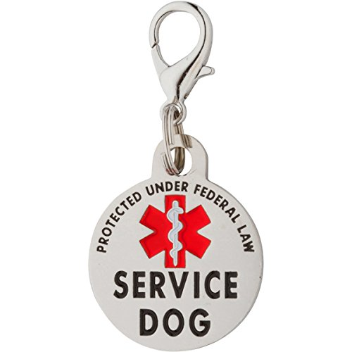 (K9King Double Sided Service Dog Small Breed Federal Protection Tag. Easily Attach to Collar Harness Vest)