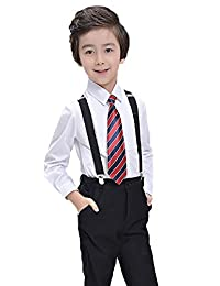 SK Studio Boys' Three Piece Formal Shirt Pants with Suspender Suits