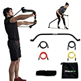 Gorilla Bow Portable Home Gym Resistance Band System | Weightlifting & HIIT Interval Training Kit | Full Body Workout Equipment (Black)