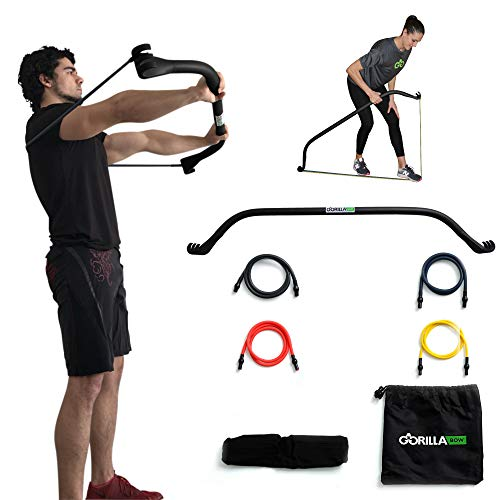 Gorilla Bow Portable Home Gym Resistance Band System, Weightlifting and HIIT Interval Training Kit, Full Body Workout Equipment (Black)