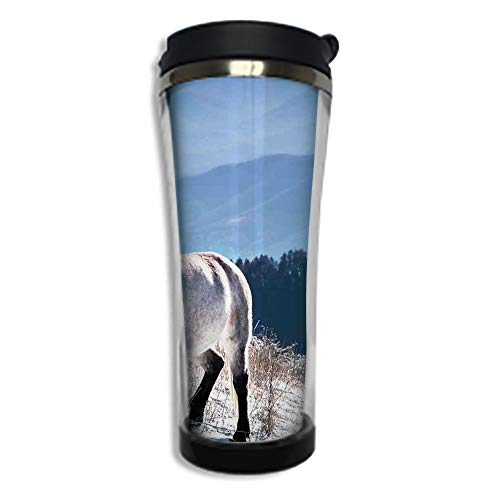 (Travel Coffee Mug 3D Printed Portable Vacuum Cup,Insulated Tea Cup Water Bottle Tumblers for Drinking with Lid 14.2oz(420 ml)by,Horses,Horse on Snowy Mountains Noble Body Wild Animals in Wilderness of)