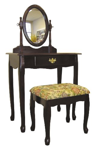 Frenchi Home Furnishing  Two Piece Vanity Set with Queen Anne Design Rich Cherry Finish - bedroomdesign.us