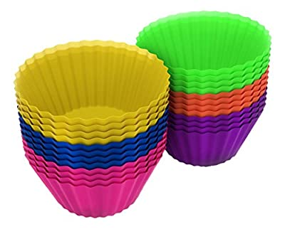 Effiliv Silicone Baking Cups - 24 Pack- Reusable Cupcake Muffin Liners Premium Quality - Nonstick Muffin Molds in Storage Container - Replaces Paper Cupcake & Muffin Wrappers