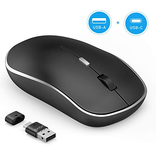 GVDV 2.4G Wireless Mouse – 2 in 1 Receiver Silent Computer Mice, Type-A & Type-C Adapter, Adjustable 3DPI 1000/1600/2400…