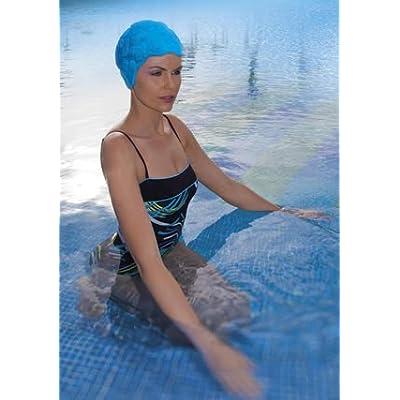 Fashy en caoutchouc texturé Design rétro Bonnet de bain–Bleu–fabriqué en Allemagne