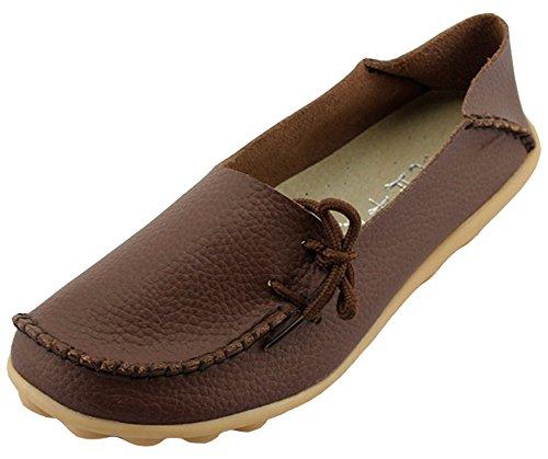 Summerwhisper Kvinna Bekväma Drivande Skor Tillfälligt Läder Slip-on Loafers Båt Skor Lägenheter Kaffe