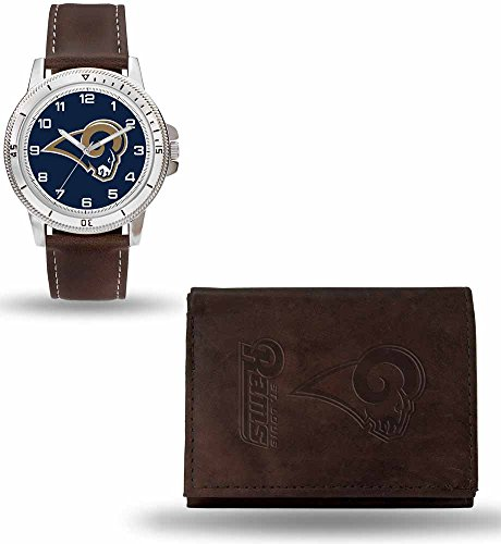 (NFL St. Louis Rams Men's Watch and Wallet Set, Brown, 7.5 x 4.25 x 2.75-Inch)