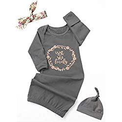 Dramiposs Newborn Baby Girls Isn't She Lovely Floral Nightgowns Outfits with Hat and Headband (Dark Grey,0-3 Months)