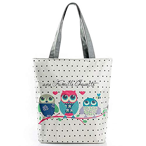 Stampato Leaf - Cartoon Owl Stampato Casual Tote Fashion Canvas Beach Bag Female Daily Use Single Shoulder Shopping Bags