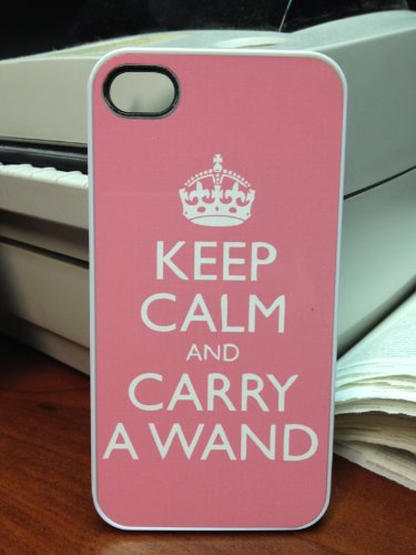 (195wi4) Pink Keep Calm and Carry A Wand PINK iPhone 4 / 4S Case Harry Potter Deathly Hallows
