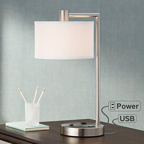 Colby Modern Desk Table Lamp with Hotel Style USB and AC Power Outlet in Base Brushed Nickel White Linen Drum Shade for Bedroom Office - 360 Lighting