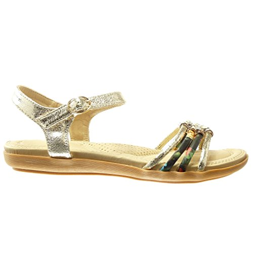 Angkorly - Chaussure Mode Sandale femme lanière fleurs strass diamant Talon plat 2 CM - Or