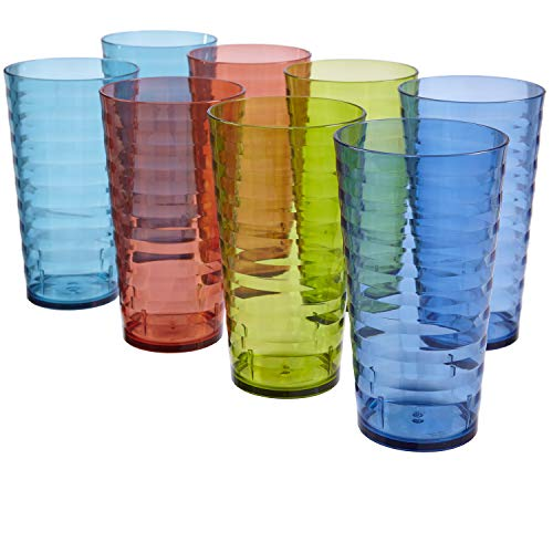 US Acrylic Splash 18-Ounce Plastic Tumblers | Set of 8 in 4 Basic Colors ()