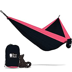 Bear Butt #1 Double Hammock - A Start Up Company With Top Quality Gear At Half The Cost Of The Other Guys (Black / Red)