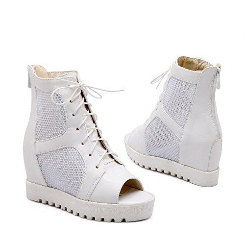 AmoonyFashion Womens Open Toe Zipper Blend Materials Solid High Heels Sandals White YVTt0