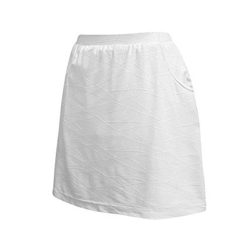 (Monterey Club Ladies Lightweight Origami Embossed Tonal Print Texture Knit Skort #4803 (White, Medium))