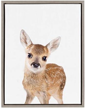 Kate and Laurel Sylvie Baby Deer Animal Print Portrait Framed Canvas Wall Art