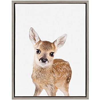 Kate and Laurel Sylvie Baby Deer Animal Print Portrait Framed Canvas Wall Art by Amy Peterson, 18x24 Gray