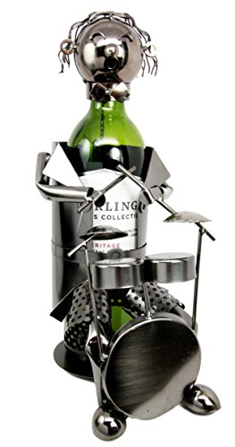 Atlantic Collectibles Rock Band Musician Drummer Hand Made Metal Wine Bottle Holder Caddy Decor Figurine ()