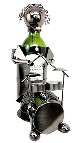 - Ebros Rock Band Musician Drummer Hand Made Metal Wine Bottle Holder Caddy Decor Figurine 12